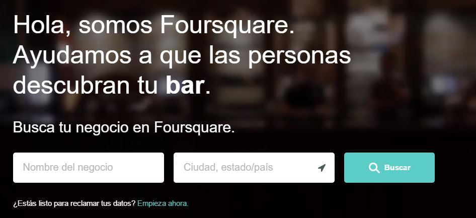 Registro en foursquare