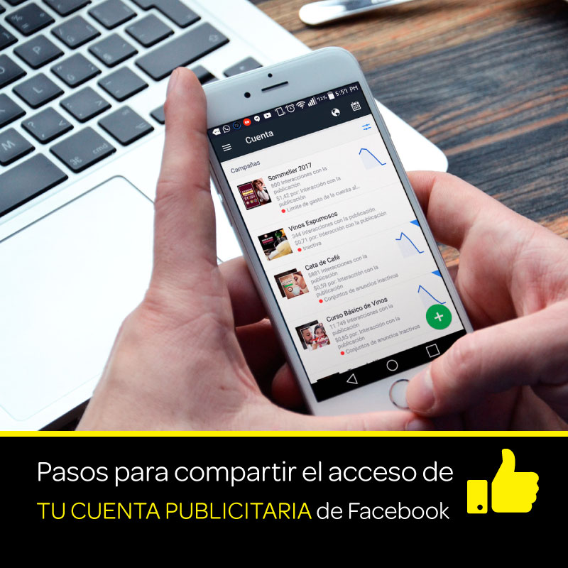 Pasos para compartir el acceso a tu cuenta de anuncios de Facebook