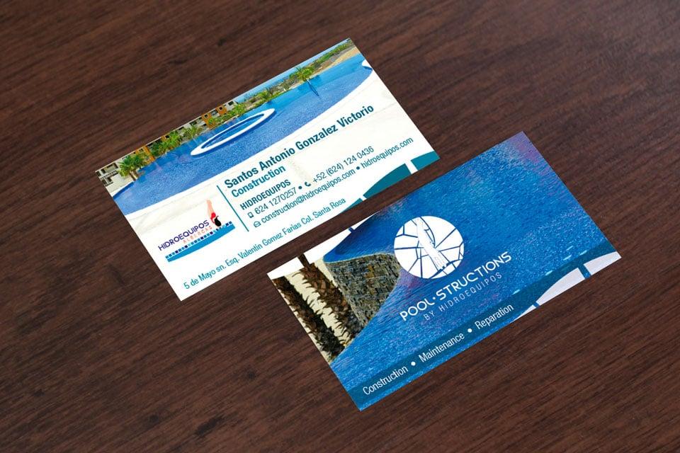 rediseño de logotipo hidroequipos albercas tarjetas