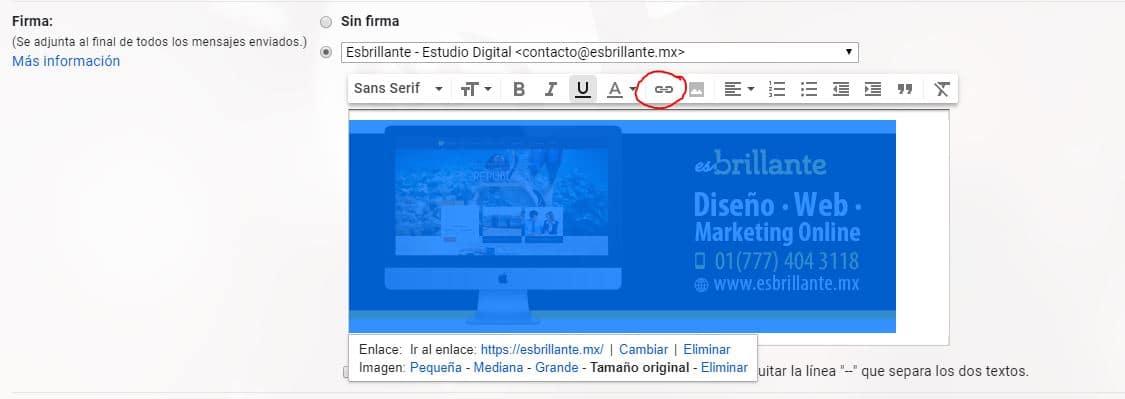 Cómo ponerle link a mi página a mi firma electrónica en Gmail